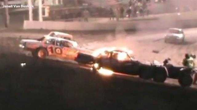 In the nick of time, a race car driver was pulled from a burning car before it was too late.