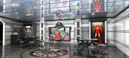 Marvel's Avengers Academy in Disney's Oceaneer Club on the Disney Magic invites young crime-fighters into a high-tech command post used by The Avengers for special missions and operations training.