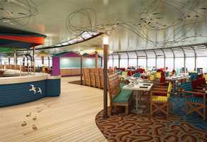 "Cabanas on the Disney Magic, drawing inspiration from Australian influences with uniquely Disney touches, includes a beach-themed dining room that has beach umbrellas and teak Adirondack chairs to create a sunny ""down under"" décor for guests."