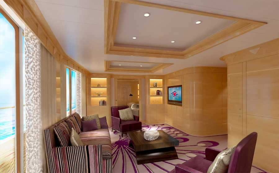 The Walt Disney Royal Suite on the Disney Magic has been redesigned with new décor, featuring high-end furnishes in a spacious ocean-view quarter where guests can relax in the comfort of their own suite.
