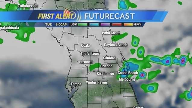 Showers and storms are expected in Central Florida today. See an hour-by-hour view of what to expect.