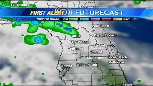 Heavy showers and storms are expected around Central Florida on Wednesday afternoon.  See an hour-by-hour view of what to expect.