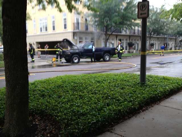 A truck fire blocks Meeting Place in Orlando's Baldwin Park neighborhood.
