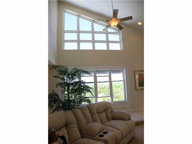 Vaulted ceilings in this comfortable family room allow plenty of natural light.