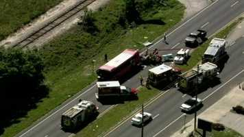 """A Lynx bus and a passenger vehicle were involved in a crash on North Orange Blossom Trail that caused """"heavy entrapment,"""" according to officials."""
