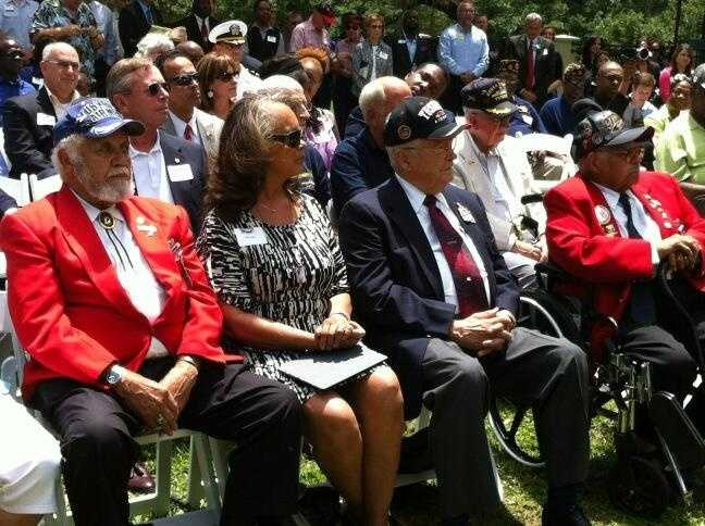 A special monument honoring the Red Tail Pilots of the Tuskeegee Airmen is being erected at the Orlando Science Center.