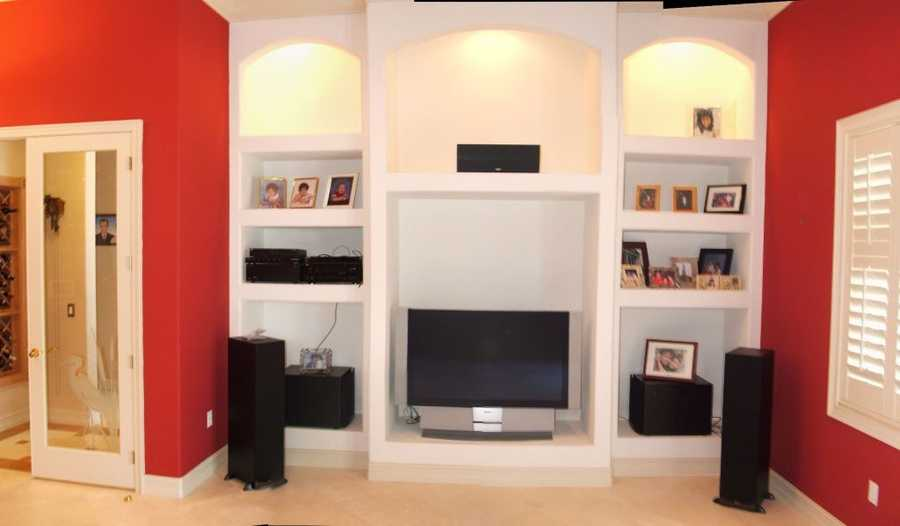 Surround sound is featured throughout the home.