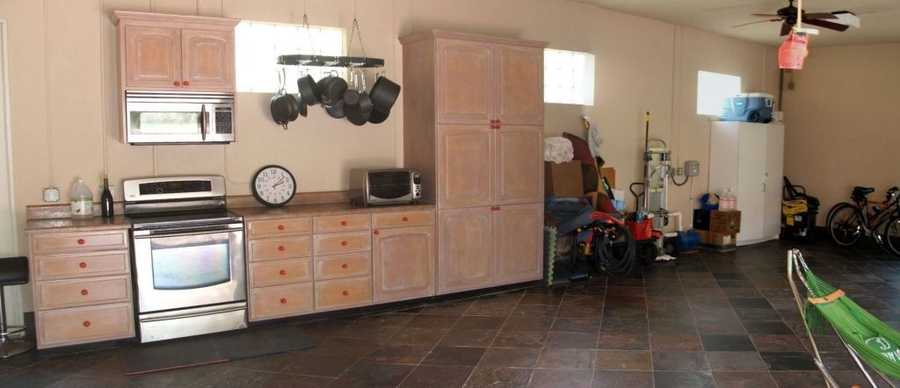 Slate flooring in the garage.