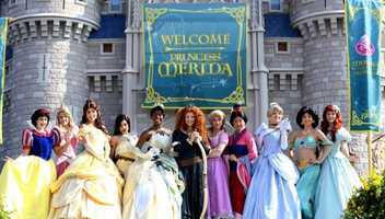 The ceremony featuring all of the other princesses took place at Cinderella Castle at the Magic Kingdom.