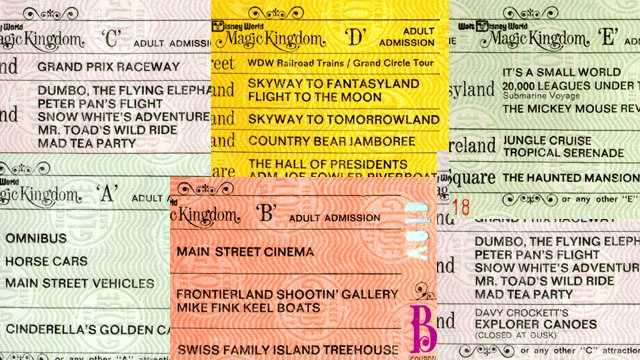 """When the Magic Kingdom opened 1971, it implemented coupon books designating attractions by a letter """"A"""" through """"E"""".  """"A"""" being the smallest and least popular rides, with """"E"""" designating the most popular attractions.  The following takes a walk through Disney-ticket memory lane."""