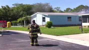 A couple and their cat were saved from a Volusia County mobile home fire on Wednesday.