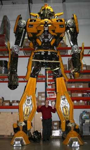 2. A 21-foot Transformer made of recycled car parts