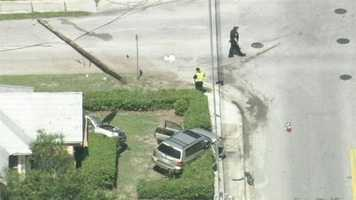 One person was taken to a hospital after a two car crash that knocked down a power pole near DeLand.