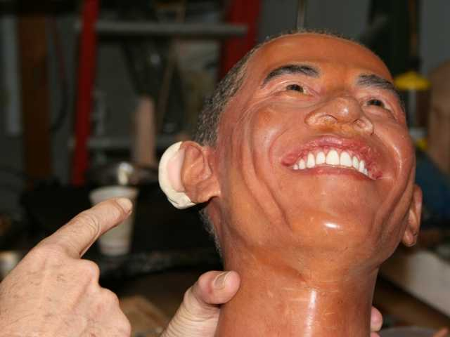 3. President Obama replica head under repair