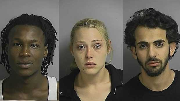 Carl Pate (left), Bridgett Schoen and Rami Maswadeh are accused of holding a man for ransom.