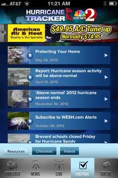 Learn how you can prepare for a hurricane under the Prepare tab, using checklists and videos from our First Alert meteorologists.