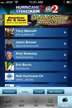 Follow our First Alert Meteorologists on Twitter for the daily forecast and during storms.