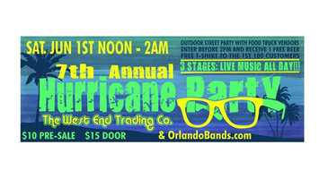 Hurricane Party: Saurday marks the start of the hurricane season and West End Trading Co. is throwing its seventh annual street party in downtown Sanford to ring it it. The all-day event features live music.