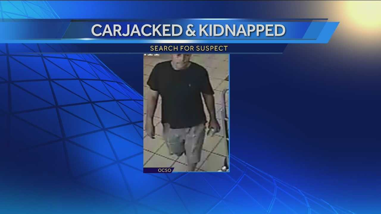 The search is on for a man who stole a woman's car and then drove her around against her will.