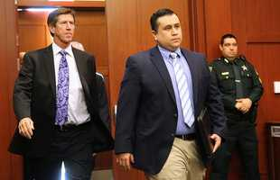 Zimmerman enters court in February 2013.