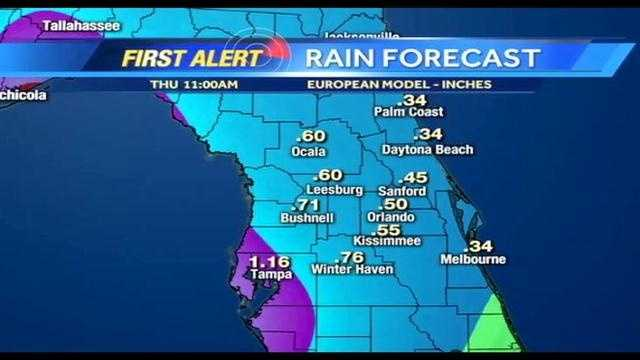 See an hour-by-hour view of rainfaill amounts expected from Tropical Storm Andrea on Thursday and Friday.