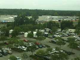 A view of the media tents from the fifth floor of the courthouse.