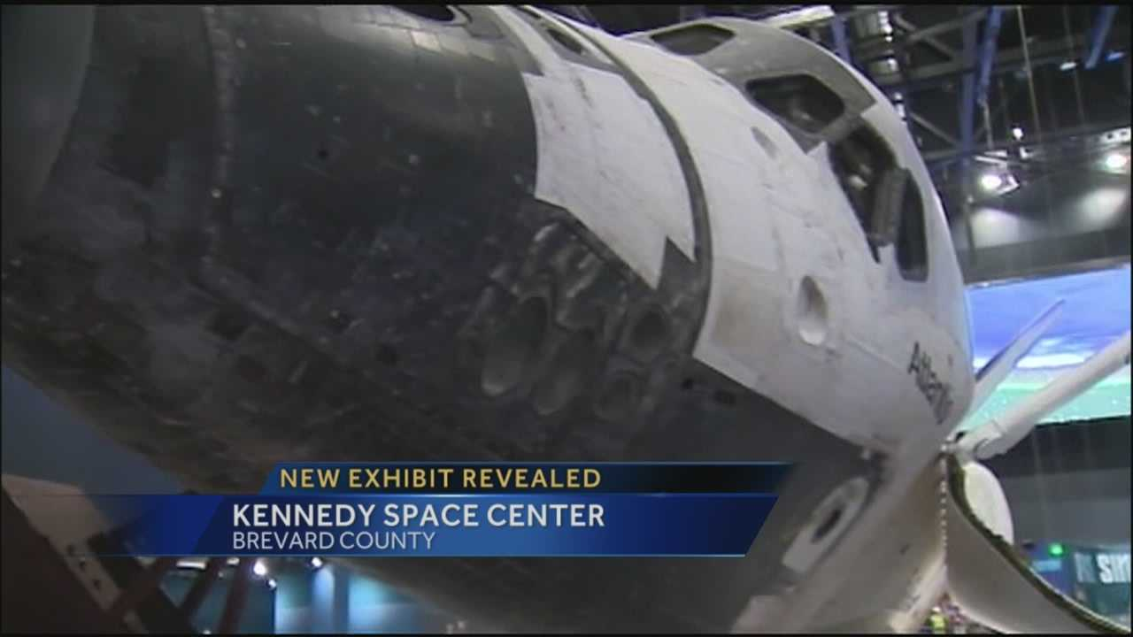 An exhibit at the Kennedy Space Center gives guests a close-up look at Space Shuttle Atlantis.