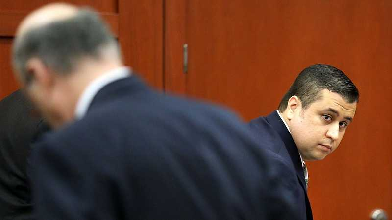 George Zimmerman looks back at the gallery, in Seminole circuit court on the first day of his trial, in Sanford, Fla., Monday, June 10, 2013. Zimmerman is accused in the fatal shooting of Trayvon Martin. (Joe Burbank/Orlando Sentinel)