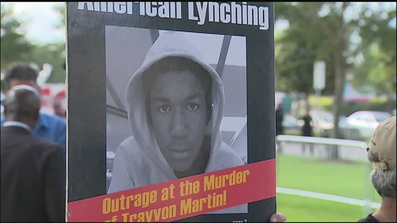 Protesters gathered in Sanford on Monday at the start of the jury selection process in the George Zimmerman trial.
