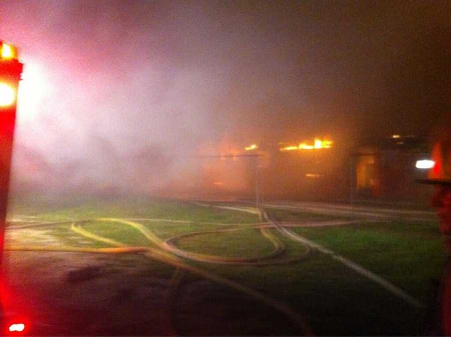 Firefighters in Brevard County said they are making good progress battling a three-alarm fire at a flea market.