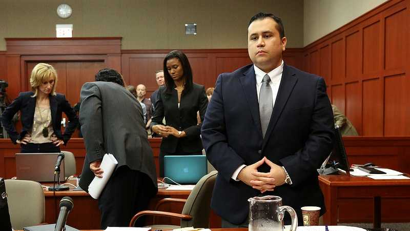 George Zimmerman stands at the beginning of court in Seminole circuit court on the 4th day of George Zimmerman's trial, in Sanford, Fla., Thursday, June 13, 2013. Zimmerman is accused in the fatal shooting of Trayvon Martin. (Jacob Langston/Orlando Sentinel/POOL)