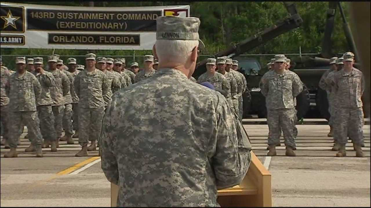 Nearly 900 soldiers, their families and retired military gathered in Orlando to see off the 143rd Sustainment Command.