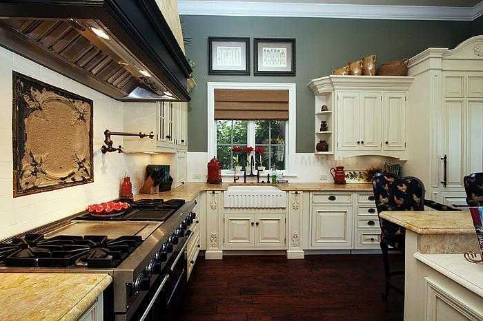 Alternate view of this gourmet, comforting kitchen.