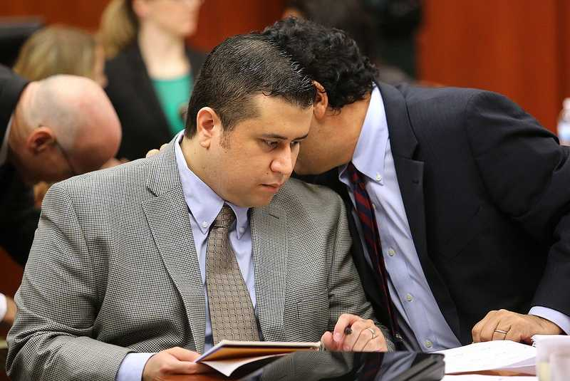 George Zimmerman listens to jury consultant Robert Hirschhorn in Seminole circuit court on the eighth day of his trial, in Sanford, Fla., Wednesday, June 19, 2013. Zimmerman is accused in the fatal shooting of Trayvon Martin. (Joe Burbank/Orlando Sentinel)
