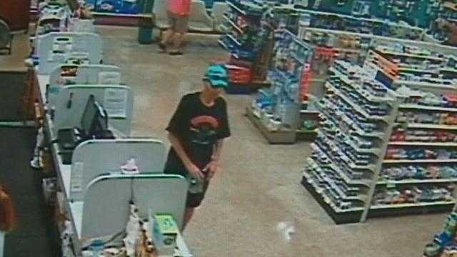 Video surveillance shows a man stealing cash meant for charity.