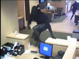 During the ordeal, the bank employee suffered a minor head injury from being hit.