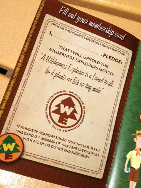 Guests can complete 30 different challenges to earn badge stickers for their Wilderness Explorer Handbook.