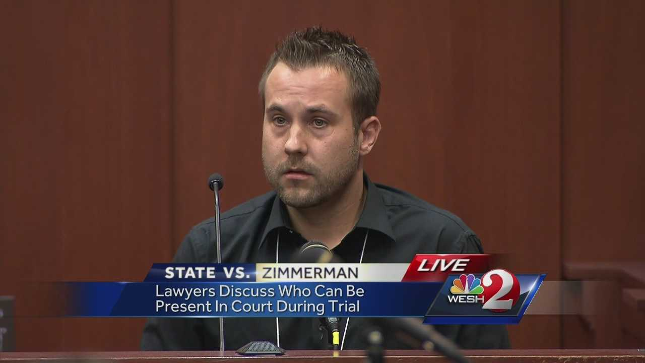 (WARNING: explicit language) A friend of George Zimmerman took the stand after opening statements Monday to tell the court that Trayvon Martin's father, Tracy Martin, called him a mother (expletive) near the courthouse bathroom. Judge Debra Nelson ruled Martin's parents