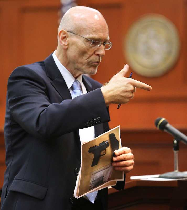 """3. State, defense differ on how close gun was to MartinState attorneys say that it was a contact shot, while the defense claims that the only thing contacting the gun was Martin's sweatshirt, not his actual body. The defense went on in an elaborate explanation of how such would be possible if, as they think, Martin was on top of Zimmerman in a mounted, """"ground and pound"""" position."""