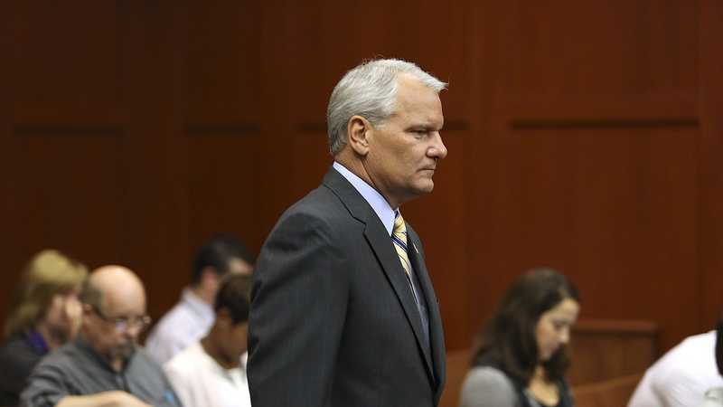 Seminole County Sheriff Don Eslinger enters the courtroom during George Zimmerman's trial in Seminole circuit court in Sanford, Fla. Tuesday, June 25, 2013. Zimmerman has been charged with second-degree murder for the 2012 shooting death of Trayvon Martin. (Gary W. Green/Orlando Sentinel)