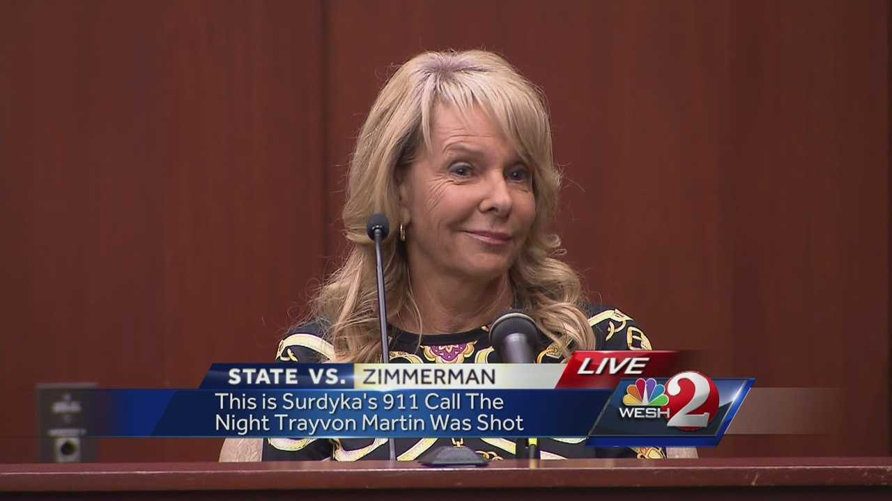 An emotional 911 call from a witness was played in the George Zimmerman trial on Wednesday. Jayne Surdyka said she heard popping noises and later saw Zimmerman handcuffed.