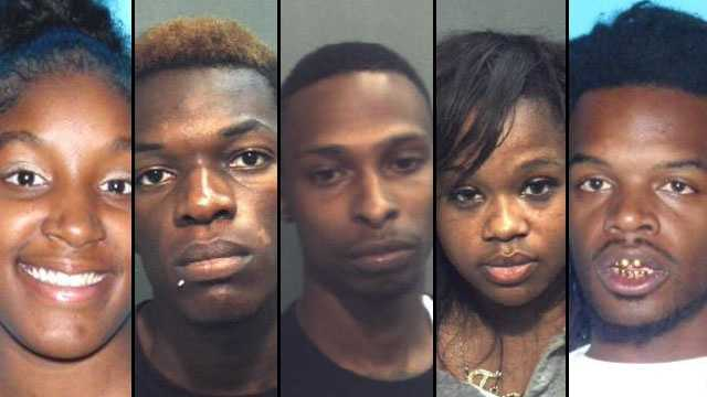 Natori Johnson (left), Shawn Timothee, De Shon Clark, Jakia Whylly and Michael Johnson face murder charges in a deadly carjacking.