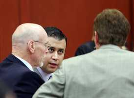 9. Questions about Zimmerman's backgroundWithout the jury present, Bernie de la Rionda brought up Zimmerman's previous criminal history. He mentioned a restraining order placed on Zimmerman and a charge of battery on a law enforcement officer. It has not been decided if this will be allowed as evidence in the trial.