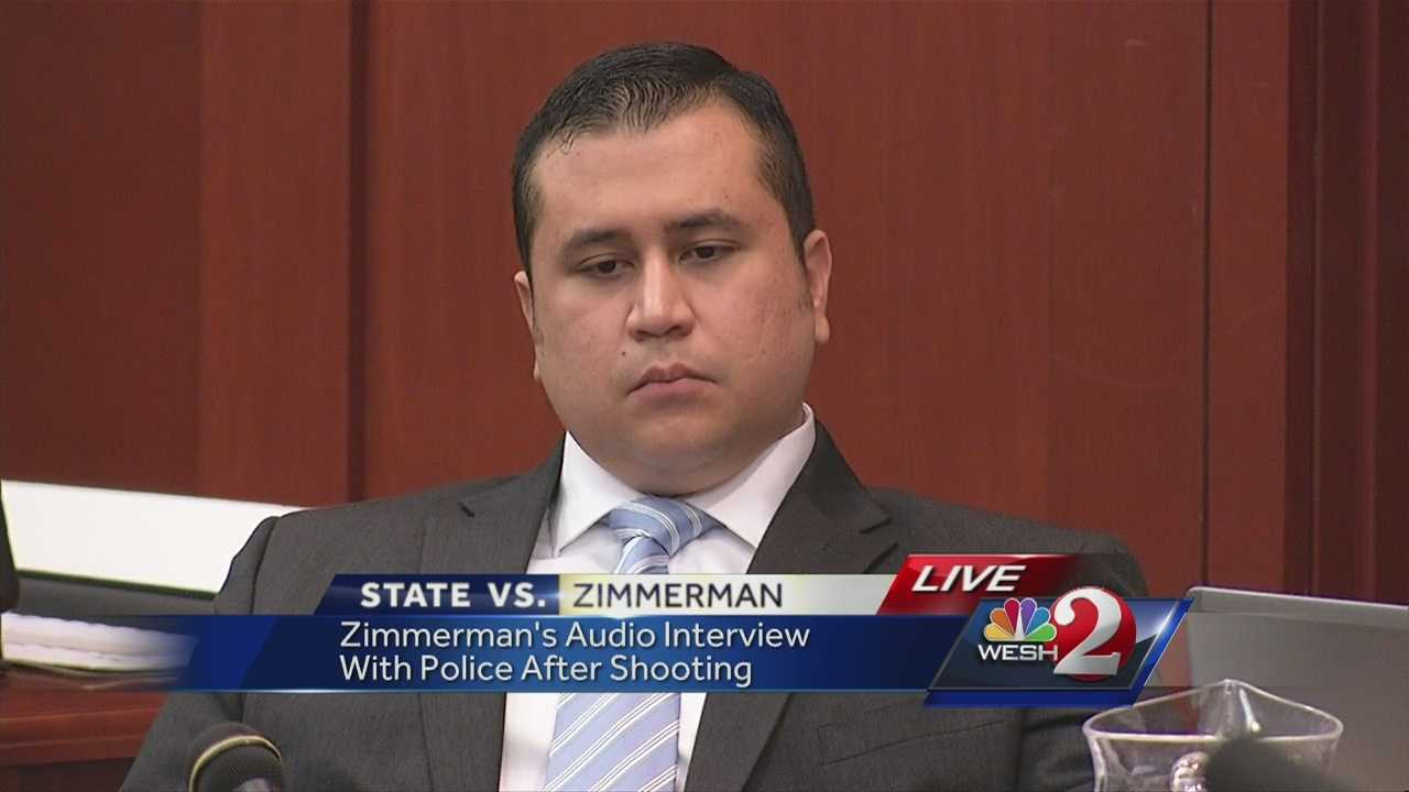 "George Zimmerman's first recorded interview with police the night he shot and killed Trayvon Martin was played in court Monday. Zimmerman said Martin punched him, then got on top of him and siad ""you're going to die tonight."""