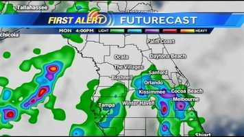 See an hour-by-hour look at rain expected in Central Florida on Monday.