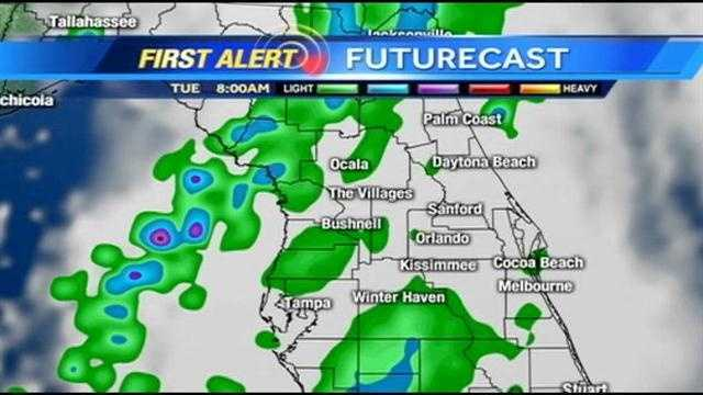 See an hour-by-hour look at rain expected in Central Florida on Tuesday.