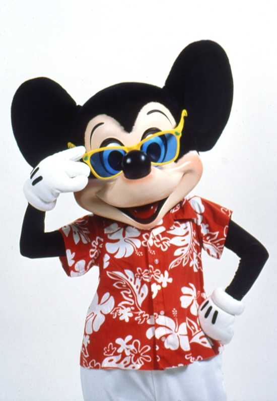 The always stylish Mickey Mouse never forgets his shades when he is having some fun in the sun.