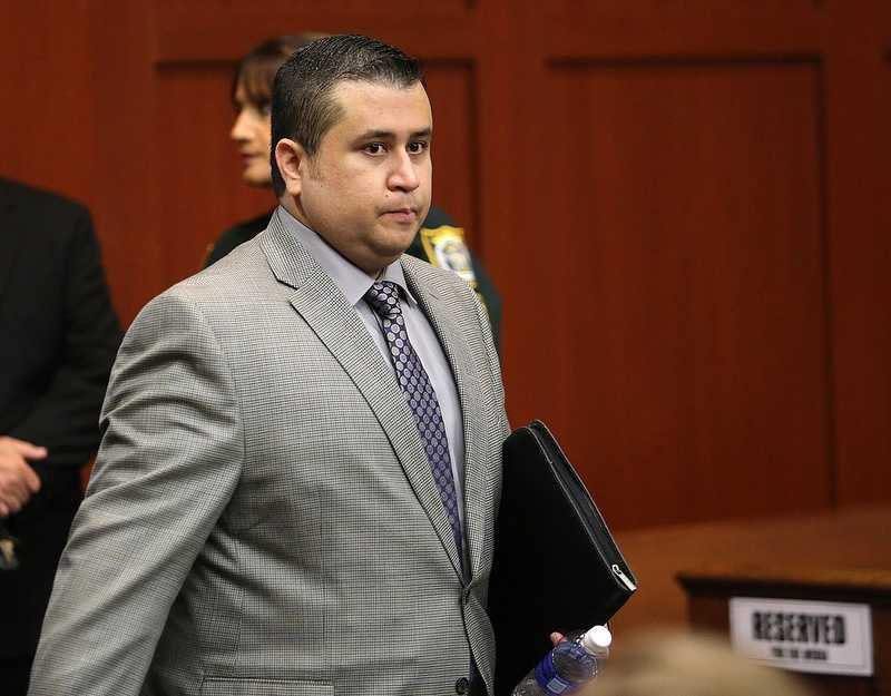 George Zimmerman arrives for the 17th day of his trial in Seminole circuit court, in Sanford, Fla., Tuesday, July 2, 2013. Zimmerman is charged with 2nd-degree murder in the fatal shooting of Trayvon Martin, an unarmed teen, in 2012. (Joe Burbank/Orlando Sentinel/POOL)