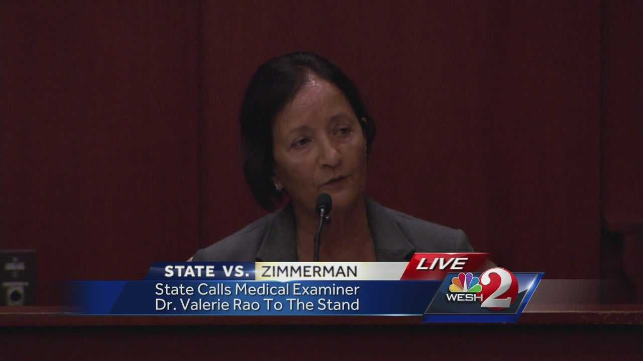 Medical examiner Dr. Valeria Rao testified Tuesday that George Zimmerman's injuries were not consistent with his story of being punched several times and having his head slammed into the concrete.