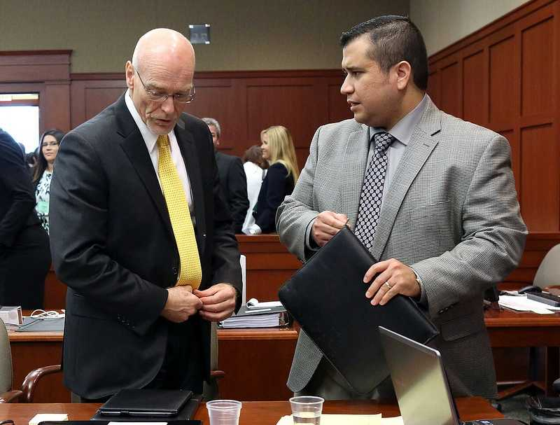 George Zimmerman, with attorney Don West (left), during a recess on the 17th day of Zimmerman's trial in Seminole circuit court, in Sanford, Fla., Tuesday, July 2, 2013. Zimmerman is charged with 2nd-degree murder in the fatal shooting of Trayvon Martin, an unarmed teen, in 2012. (Joe Burbank/Orlando Sentinel/POOL)